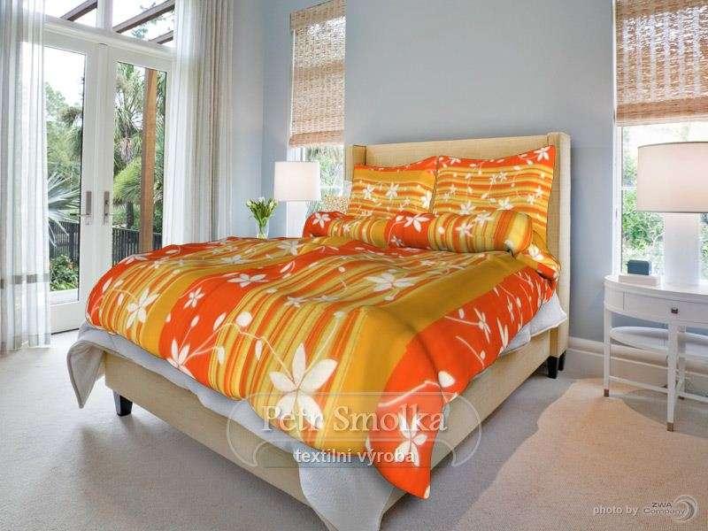 Liana oranžová krepové ložní povlečení