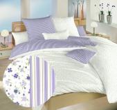 Květinky fialové/Proužky fialové bavlněné povlečení