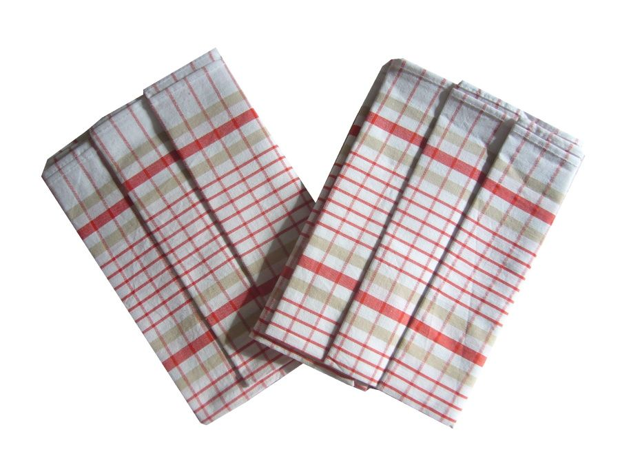 Utěrky z egyptské bavlny Kostka bílo/červená - 3 ks